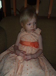 Our Cara in her peach dress.
