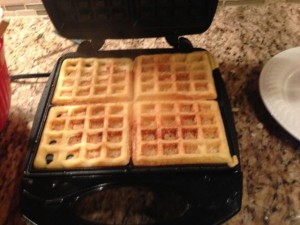 My own cornbread waffles still on the waffle iron